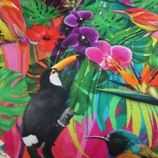 "Tropical birds 'Bletilla' 100% cotton fabric Stof France 62"" wide - chubby FQT"