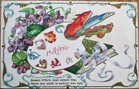 First of April/Premier Avril 1908 Postcard: Fish & Artist's Palette- Color Litho
