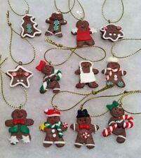 12 mini Gingerbread man Cookie Christmas tree Ornaments, Miniature Crafting