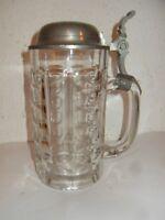 """alter Bierkrug, Glas mit  Zinndeckel,   mit Gravur. """" J. D. """""""