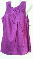 Anne Klein Dressy Tank Top Sleeveless Purple Blouse Large L 14 16 New NWT