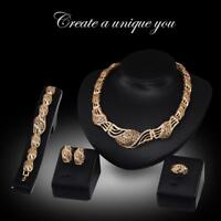 Women Crystals Gold Plated Necklace Earrings Bracelet Ring Jewelry Set FT