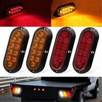 """4X Car 6"""" 10 LED Oval Turn Signal Light Stop Backup Tail Truck Trailer Red+Amber"""