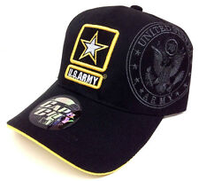 BLACK YELLOW ARMY STAR LOGO HAT CAP US STRONG LICENSED MILITARY CAMO ADJUSTABLE