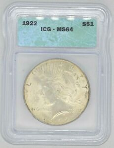 1922 P ICG Certified MS64 Peace Dollar
