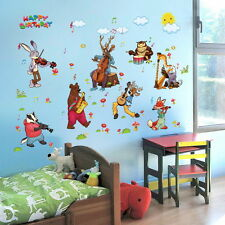 Jungle Animals Music Party Gif Wall Stickers Removable Decals kids decor nursery