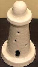 Vintage Ceramic Lighthouse Sculpture Crazing Glaze Bermuda Island White 8.5x4.5�