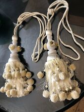 Large Ornate CURTAIN TIE BACKS  IVORY CREAM & GOLD