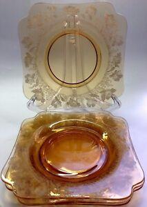 4 Vintage antique Art Deco Cambridge Glass yellow amber etched square plate 20cm