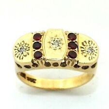 Ladies/womens 9ct/9carat gold ring set with rubies and diamonds, UK size L
