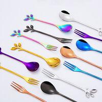 Small Branch Leaf Coffee Spoon Tea spoon  Dessert Fruit Fork Upscale Dinnerware