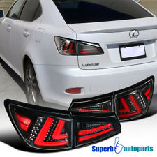 For 2006-2008 Lexus IS250 IS350 LED Shiny Black Tail Lights Rear Brake Lamps