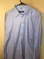 Seiden Sticker Mens (44) 17.5 Button  Down Shirt Long Sleeve Blue Brown