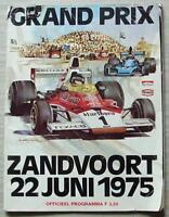 DUTCH GRAND PRIX FORMULA ONE 1975 F1 ZANDVOORT Official Programme