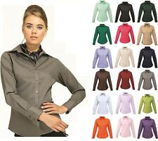 Ladies Womens Business Hospitality Barwear Long Sleeve Poplin Shirt Blouse