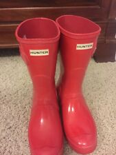 Hunter Original Short Gloss Women US 9 Pillar Box Red Rain Boot $138
