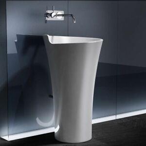 Durovin Bathrooms Round White Basin Sink Free Standing Pedestal Stone Resin