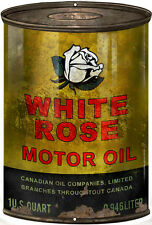 Aged White Rose Motor Oil Can Steel Cut Out Sign
