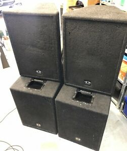 """Dynacord 4 Box Pa System PM2600 4 Ch Amp 15"""" Subs 12"""" Tops  all Cables"""
