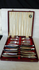 Vintage English 6 Place Setting Sheffield Silver Plated Knives & Forks