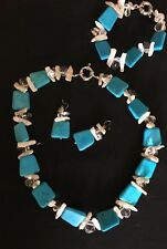 3-piece Turquoise and Mother Of Pearl Necklace, Bracelet, And Earrings