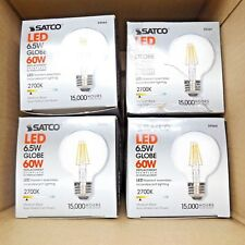LOT OF 4 SATCO S9564 LED 6.5W FILAMENT GLOBE 60W REPLACEMENT 810 LUMENS DIMMABLE