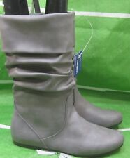 NEW LADIES Womens GRAY  Flat Round Toe  Sexy Mid-Calf Boot Size  9
