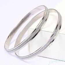 Punk Women Elegant Stainless Steel Scrub Wristband Infinity Bangle Bracelet Gift