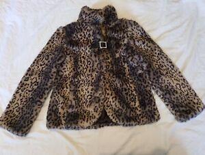 Girls Coat Jacket Faux Fur Leopard Print age 11-12yrs Next