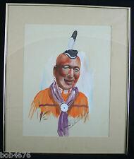 "ORIGINAL 1982 George M. Cochran Watercolor CHEROKEE MAN 17-1/4"" x  21"" Unframed"