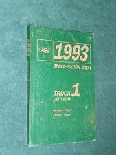 1993 FORD SERVICE SPECIFICATIONS BOOK ORIG! / RANGER EXPLORER VILLAGER AEROSTAR