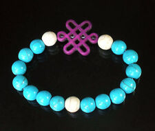 Turquoise Blue/White  Bracelet with Purple Chinese Knot