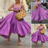 Summer Women Strappy Party Evening Ruffle Long Maxi Dress Midi Dress Plus Size