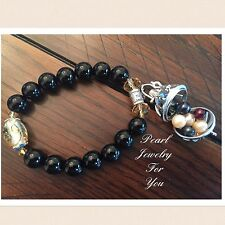 Pearl Cage Glass Beads Bangle Wish Pendant BRACELET For Akoya Oyster Pearl Black