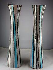 2 Modern Italian Art Pottery Vases Striped -Blue, Purple, White w/Black Stripes