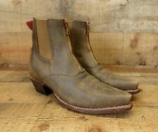 Twisted X Leather Ankle Boots Front Zip Snip Toe Cowgirl Brown 6