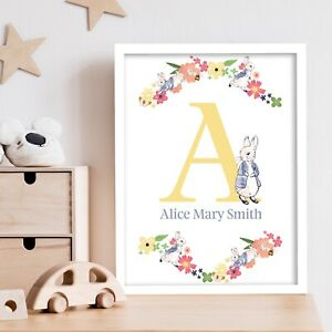Official Peter Rabbit Print - Flowers and Personalised Yellow Letter & Name Art
