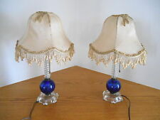 Pair ART DECO COBALT & CLEAR GLASS BOUDOIR TABLE LAMPS w/ CLOTH SHADES
