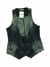 Denim Patternless Casual Waistcoats for Women