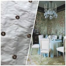 NEW! 100% Silk Dupioni Taffeta Fabric- Velvet Grey Embroidery Floral -Light Blue