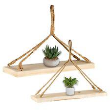 Groß Rustikal Holz Wandbehang Seil Schwimmende Regale Aufbewahrung Regal Display