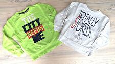 2x Coole Print Sweatshirt TOM TAILOR Gr. S/140 hellgrau meliert und limette TOP