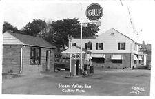 Steam Valley PA Gulf Gas Station Pumps Inn Signed Caulkins RPPC  Postcard