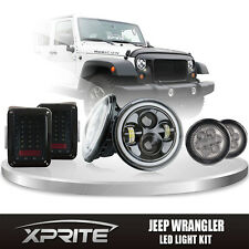 "7"" 80W CREE LED Headlights Halo w/Turn Signal & Taillight Smoke Combo 07-17 Jeep"