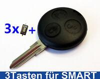 3Tasten Auto Schlüssel Gehäuse Rohling für Smart ForTwo MC01 450 + 3x Taster