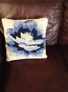Blue Lily Wool Floral Design On Front Cotton Velvet Back Pillow Cover w Zipper