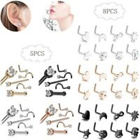 20G 8PCS 316L Surgical Steel Nose Rings Ear Studs L-Shape Body Piercing Jewelry