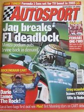 AUTOSPORT MAGAZINE SEP 2002 JAG BREAKS F1 DEADLOCK DRUG SCANDAL DARIO TAMES ROCK