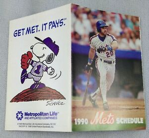 1990 New York Mets Baseball Pocket Schedule - Metropolitan Life