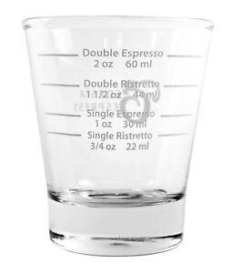 White Lined Espresso Shot Glass Measure For Coffee Espresso Machines - 85ml